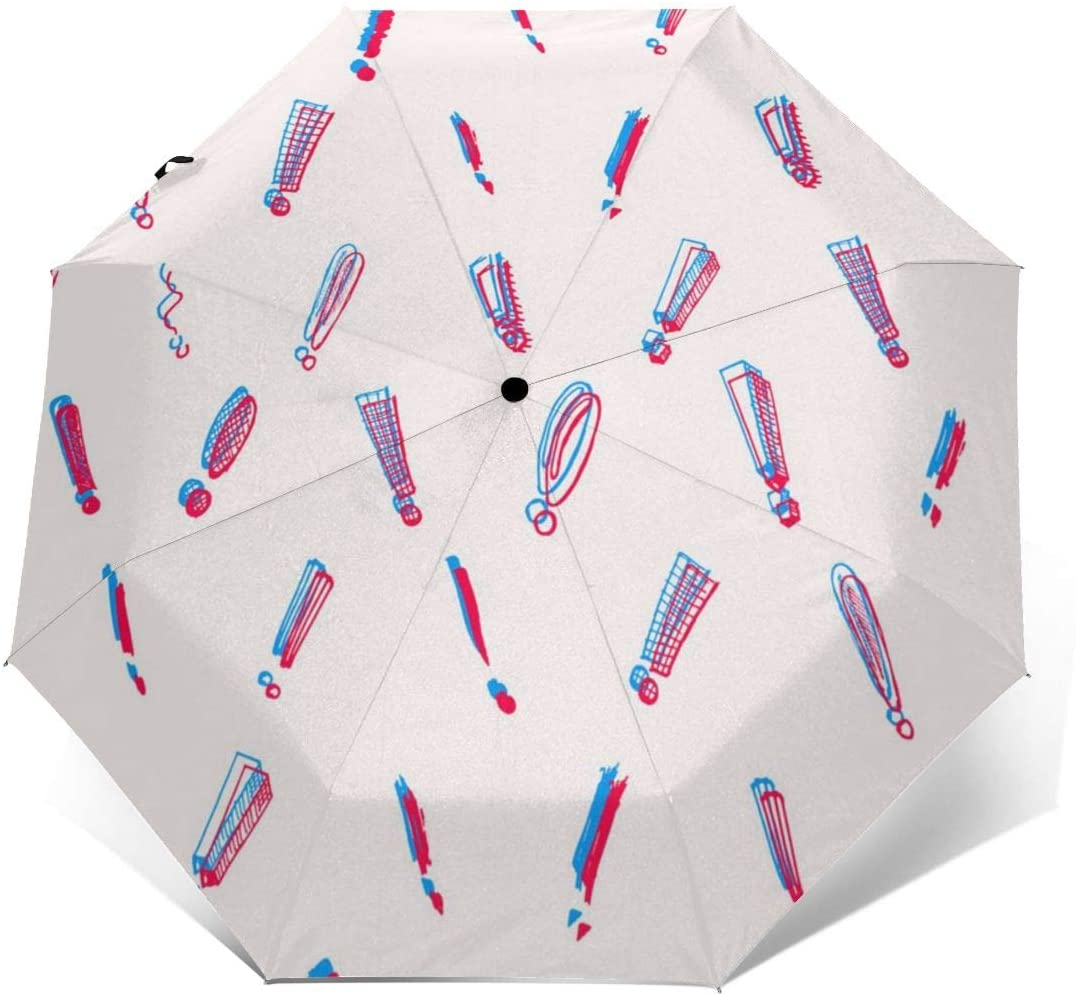 Exclamation Mark Pattern Windproof Automatic Folding Umbrella Tri-fold Umbrella