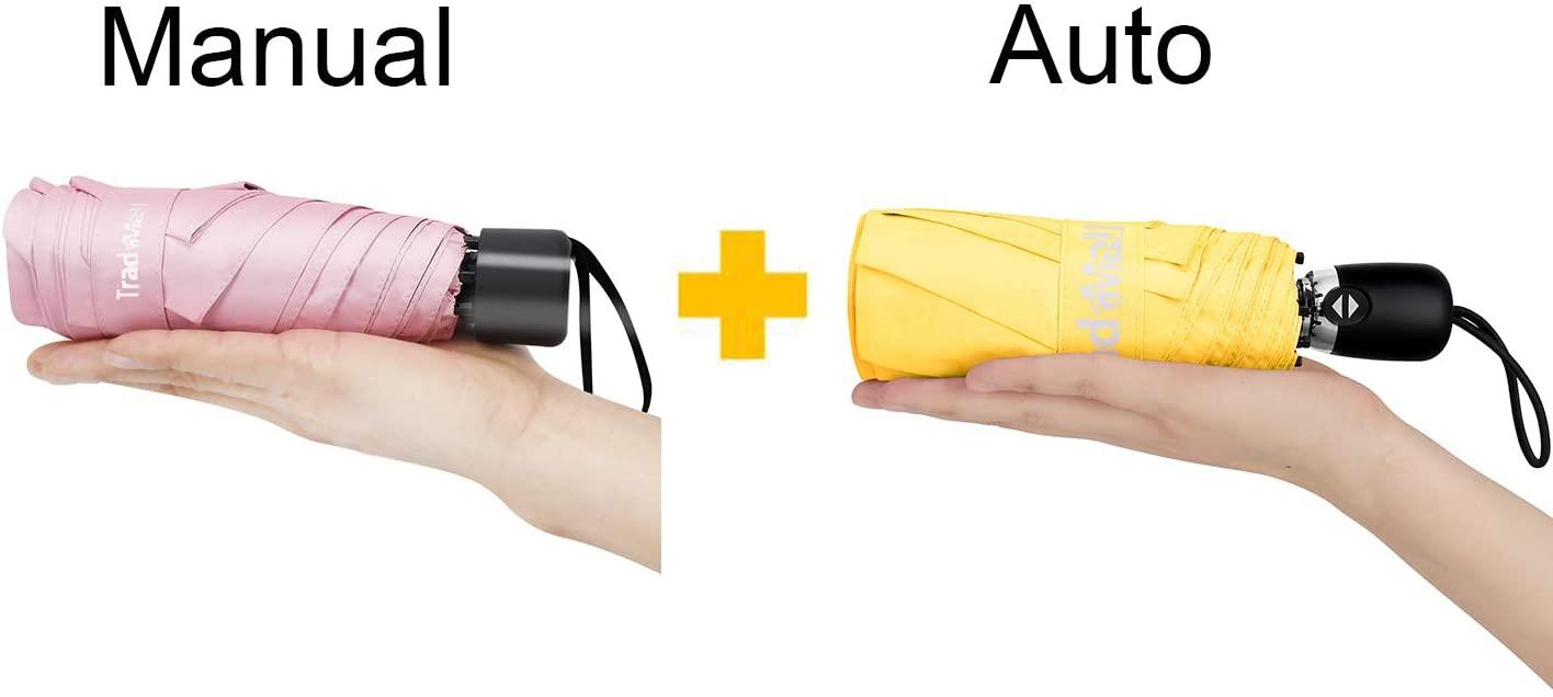 TradMall Mini Travel Manual & Auto Umbrella Bundle, Portable Lightweight Parasol with UV Protection for Sun & Rain