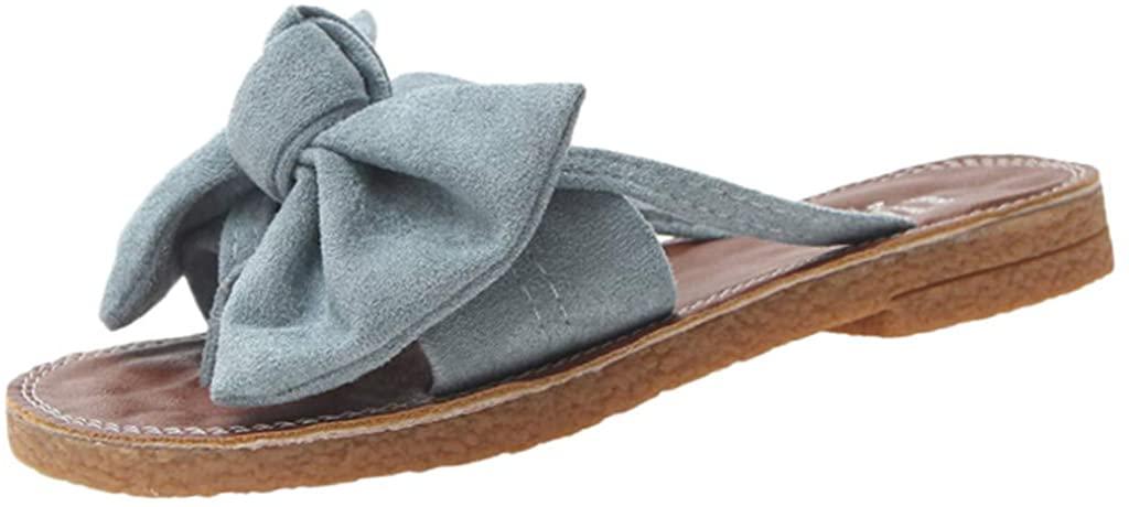 Women's Slides Flip Flops Cute Bow Tie Flat Sandals Summer Comfort Thong Strappy Slip On Slides Sandals