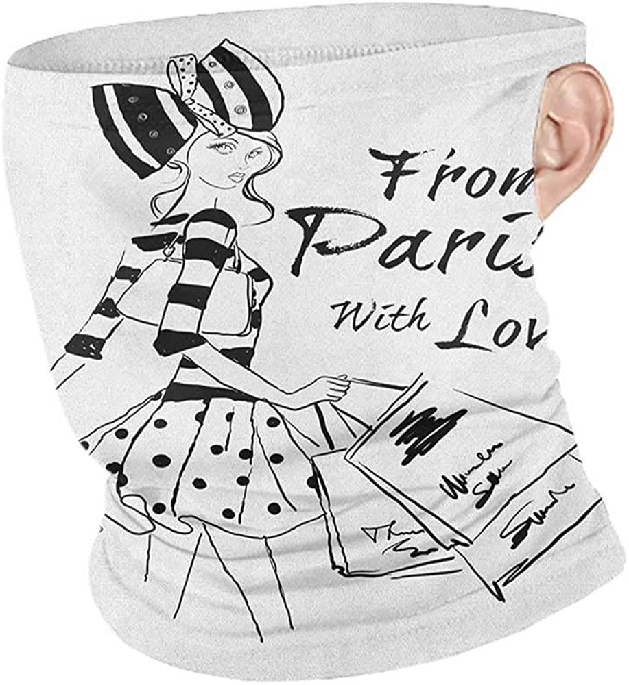 Headwrap Summer Paris from Paris with Love Fashion Hand Drawn Girl Figure Shopping Polka Dot Design Skirt,Headband Neck Gaiter Black White 10 x 12 Inch