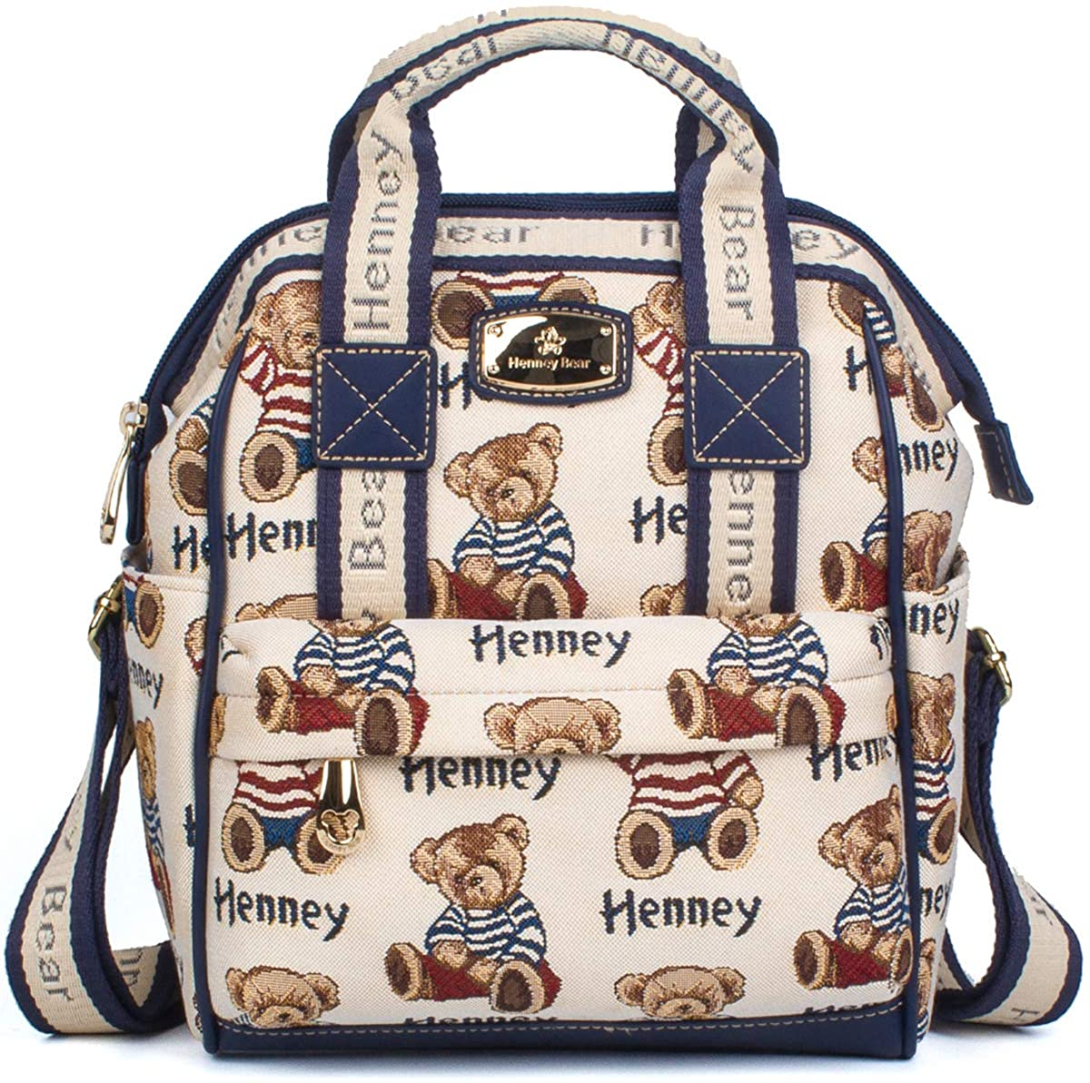 Henney Bear Mini Backpack Casual Daypack Cute Signature Bear Pattern for Women