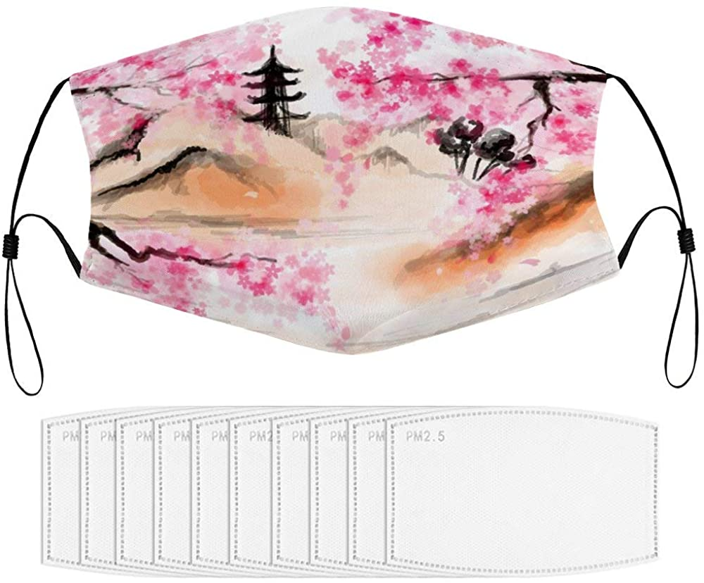 Roupaze Children Face Masks Japanese Cherry Blossom Street Art Windproof Face Mouth Cover Balaclavas for Kids with 10 Filter