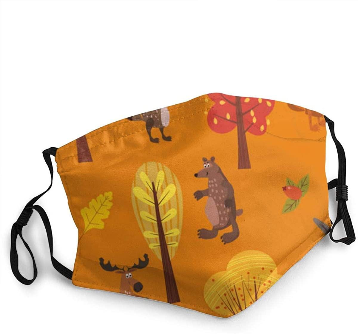 Fashion Protective Face Masks, Autumn Forest Cute Animals Unisex Dust Mouth Masks, Washable, Reusable Masks