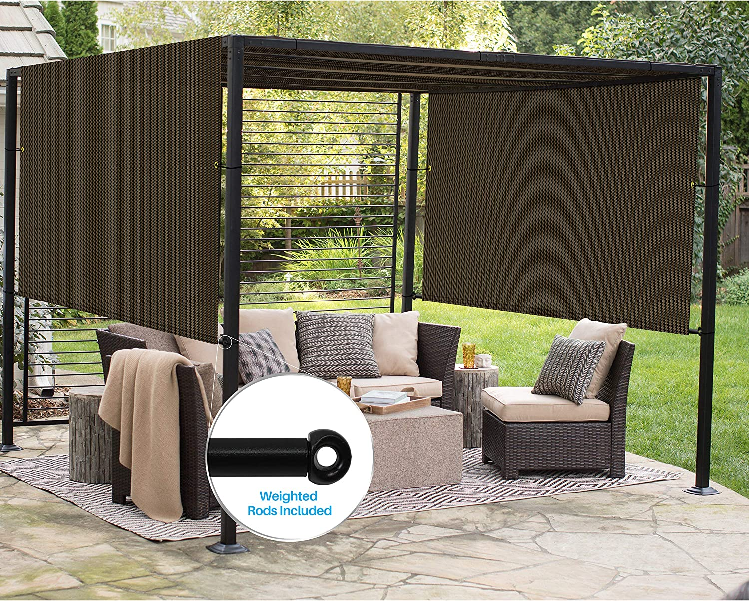 Patio Outdoor Shade Universal Replacement Pergola Canopy Cover 10'x4' Brown with Grommets 2 Sides Weighted Rods Included Shade Screen Panel for Balcony Deck Porch