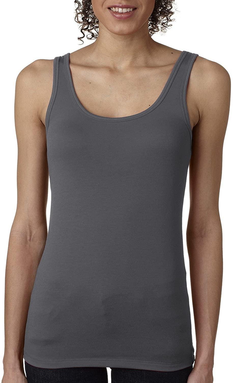 Next Level Apparel Women's 40 Singles Jersey Tank Top, Dark Gray, Large