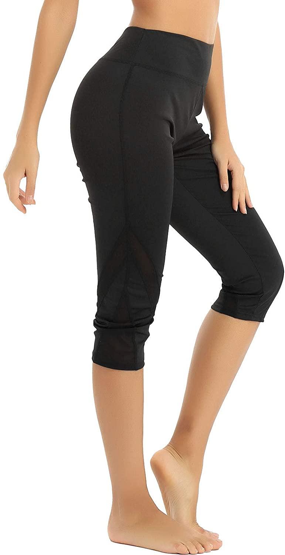 Freebily Women High Waist Calf Length Mesh Spliced Capri Pants Sports Leggings Fitness Yoga Gym