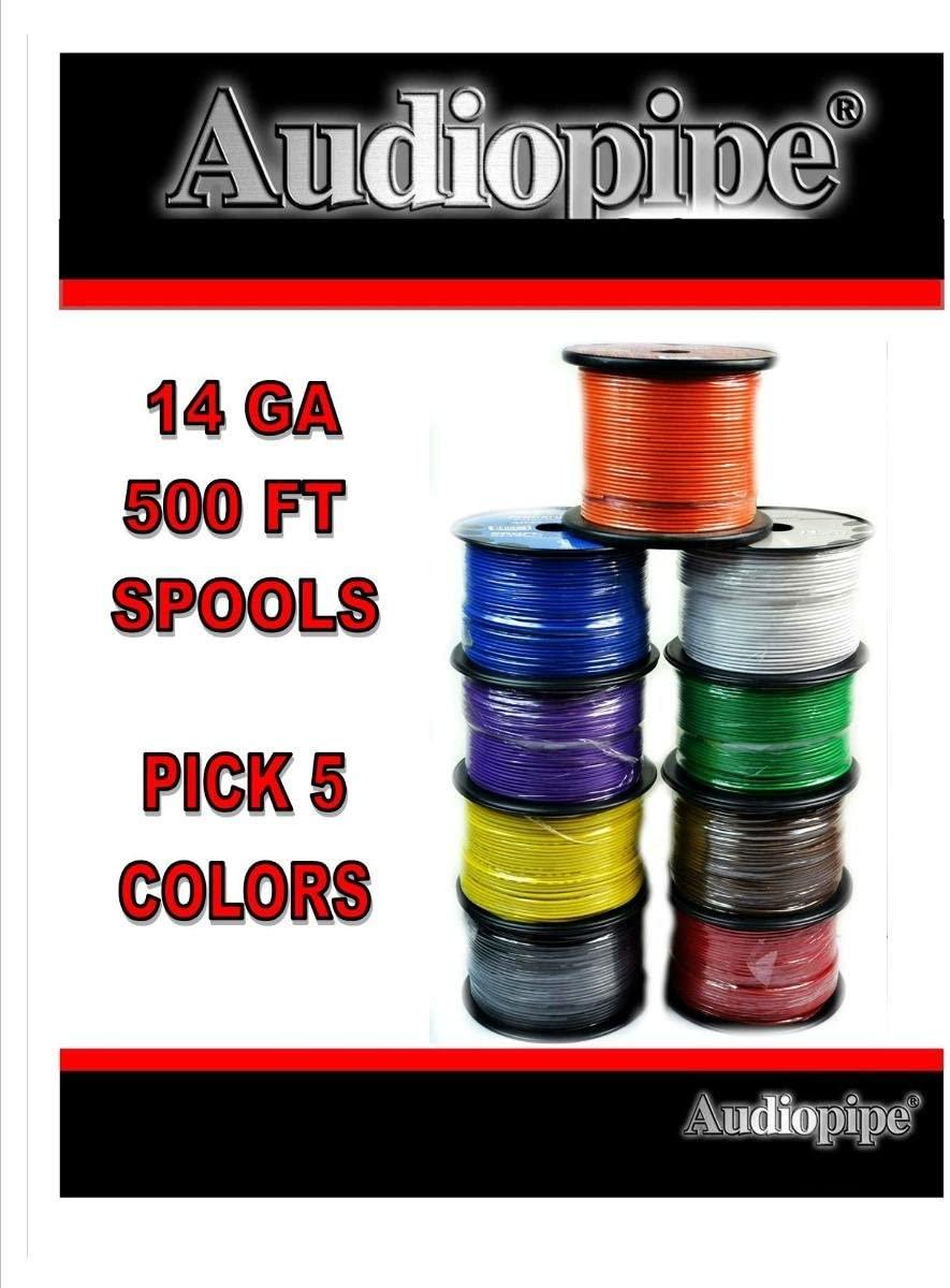 Choose 5 colors 14 Ga 500' ea Audiopipe Car Audio Home Primary Remote Wire