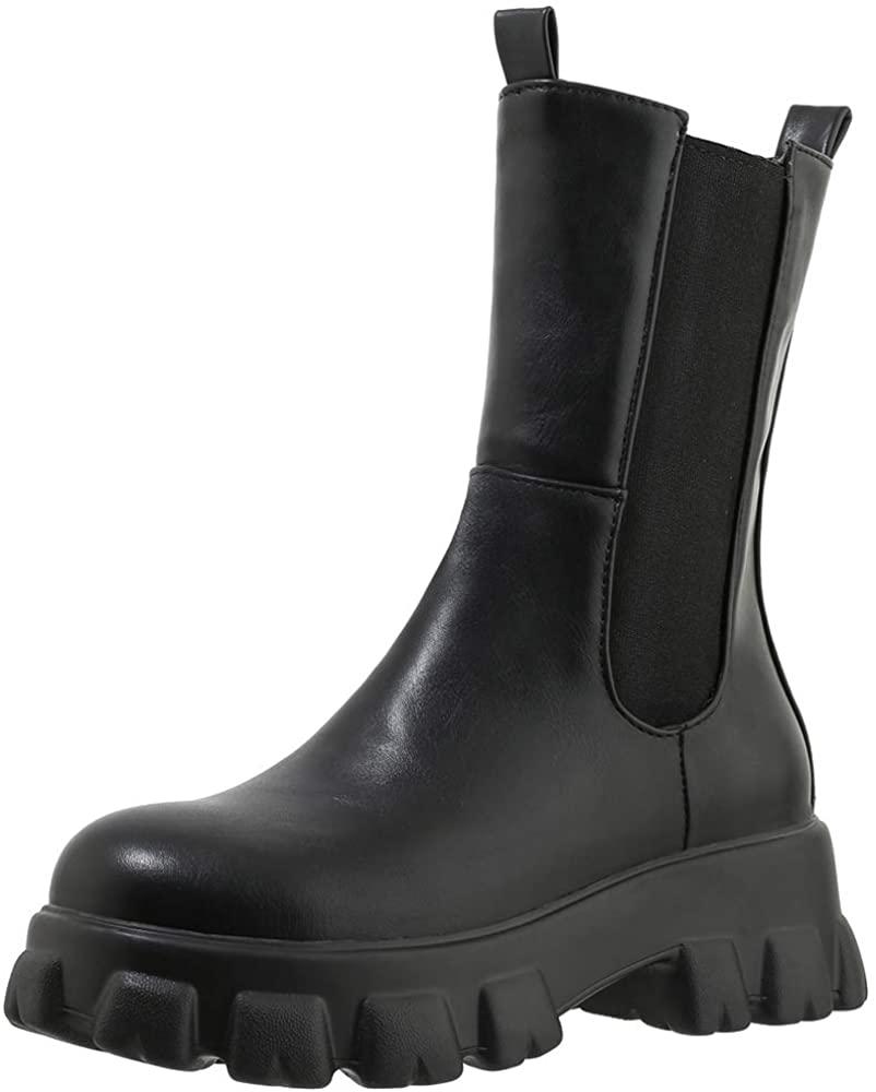 CularAcci Women Fashion Ankle Boots Block Heel Platform Boots