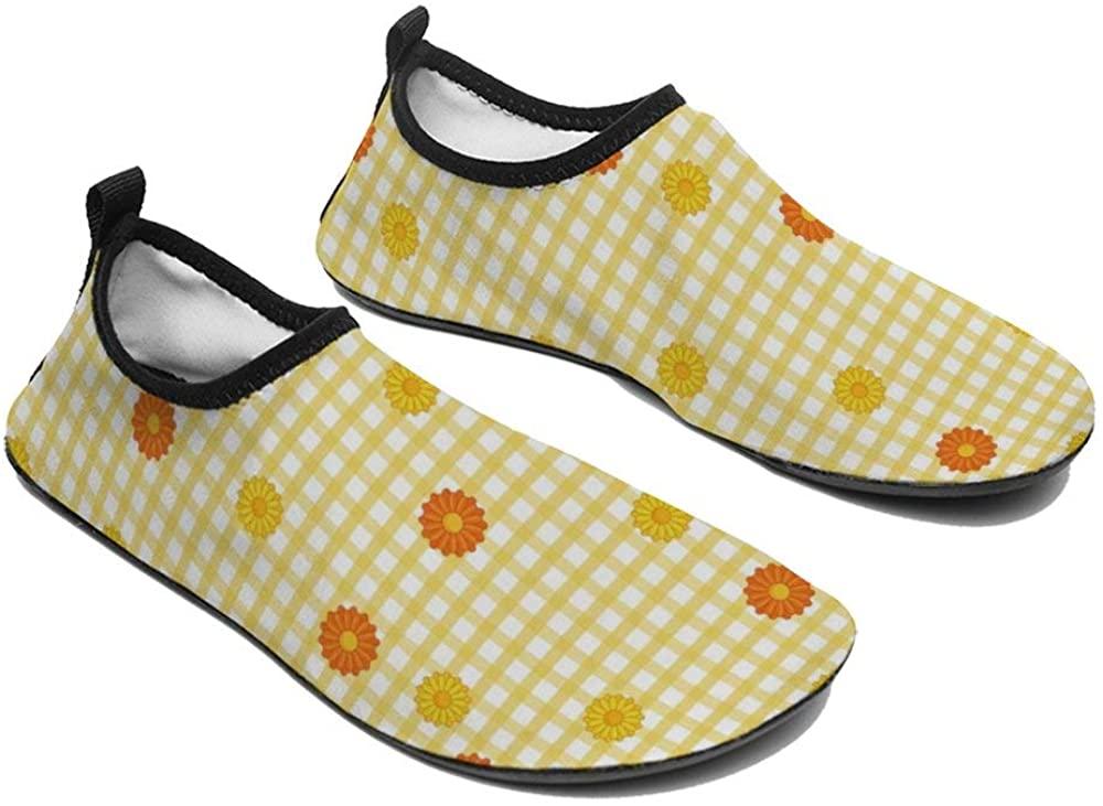 TAMENGI Womens and Mens Kids Water Shoes, Flower Quick-Dry Barefoot Shoes, Aqua Socks for Beach Swim Surf Yoga