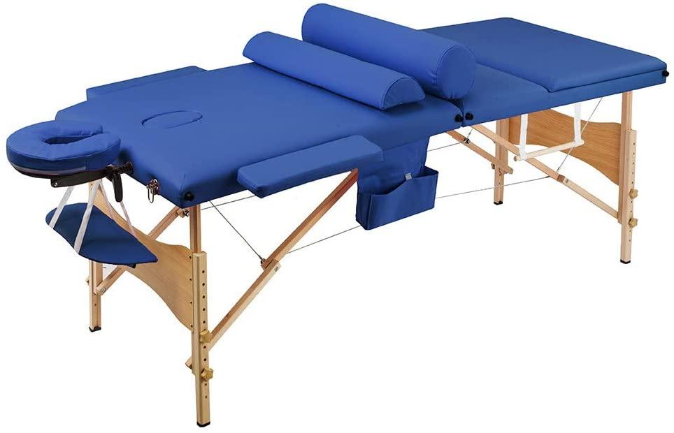 3 Sections Folding Portable Beauty Massage Table Set 70CM Wide Blue