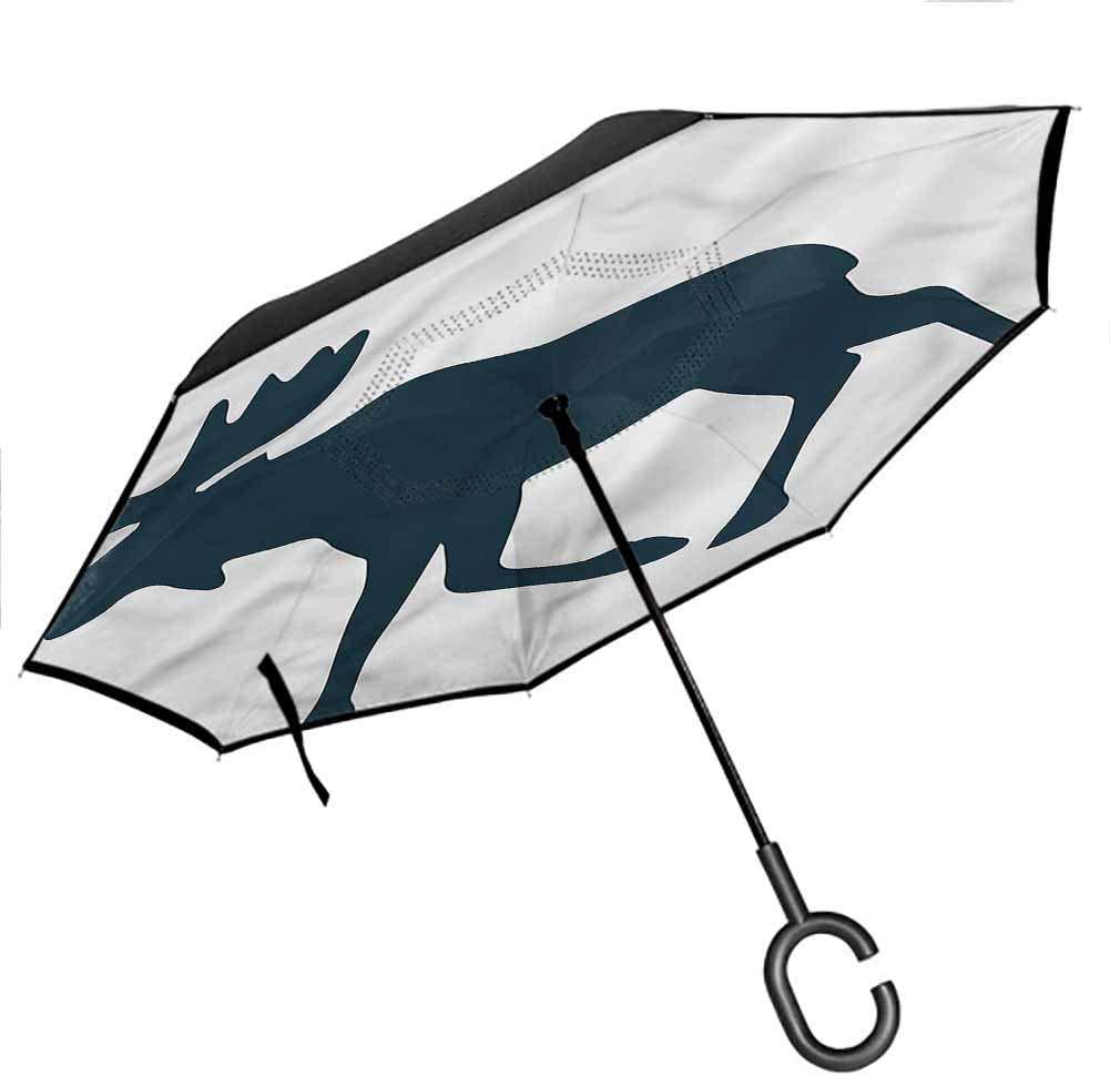 Kgblfd Moose Windproof Umbrella Elk Crossing Traffic Sign Better Than Most Umbrellas for UV Protection & Rain