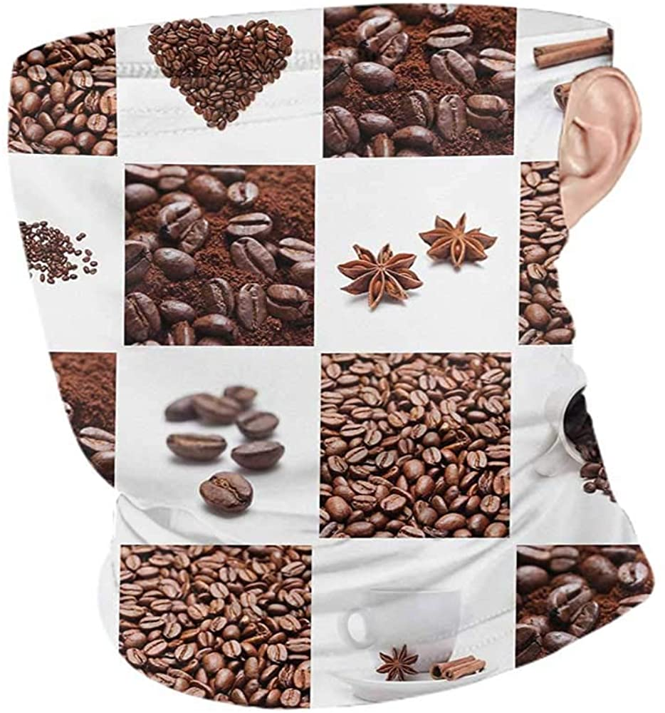 Headwrap Summer Kitchen Coffee with Roasted Beans Concept Collage Hearts Stars Espresso Latte Mugs Aroma,Winter Neck Gaiter Brown White 10 x 12 Inch