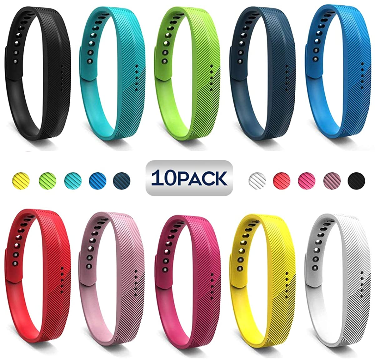 JOMOQ Replacement Bands Compatible for Fitbit Flex 2, Adjustable Breathable Sport Wristbands Silicone Accessories Women Men