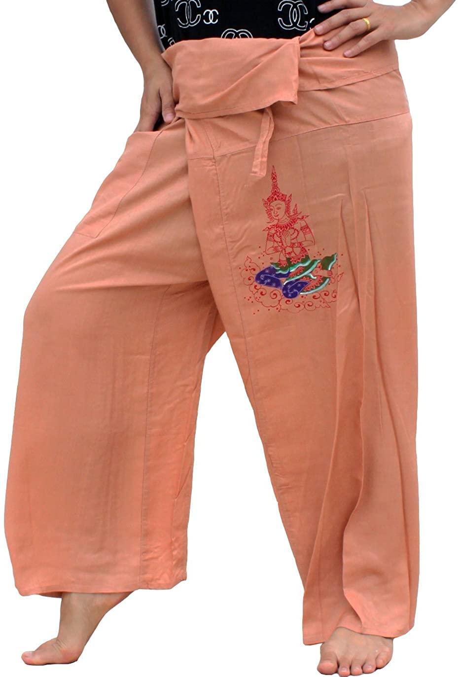 RaanPahMuang Brand Rayon Fisherman Pants Handpainted Thai Meditation Wheat Brown