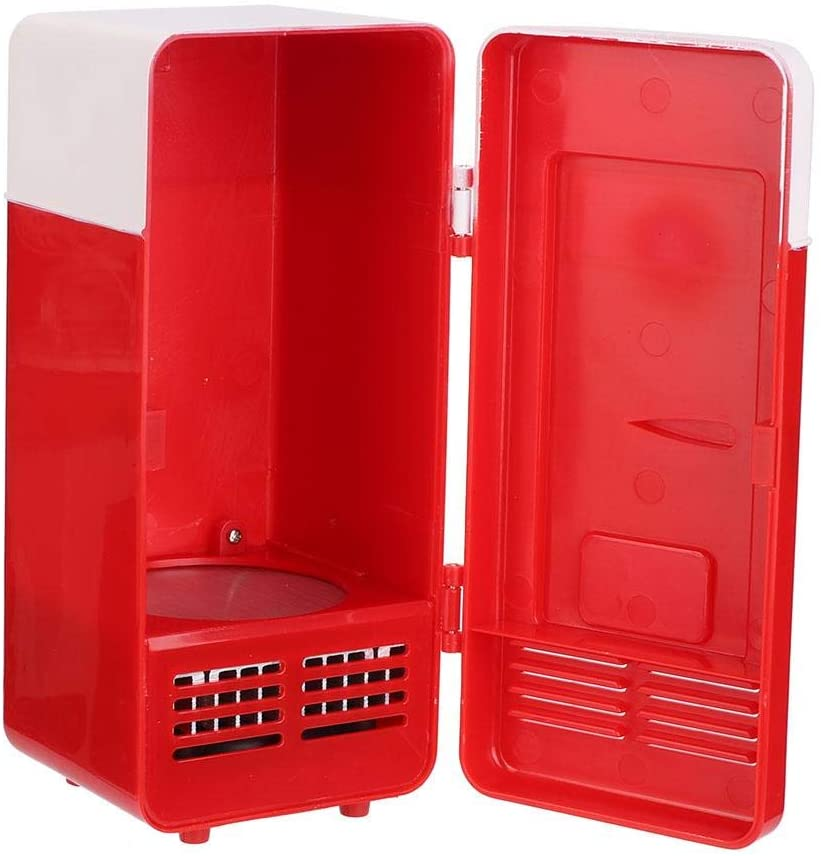 Mini Refrigerator, Mini USB Office Mini Heating And Cooling Dual-Use Portable Refrigerator Drink Cooler Mini Refrigerator USB Office Refrigerator (red)