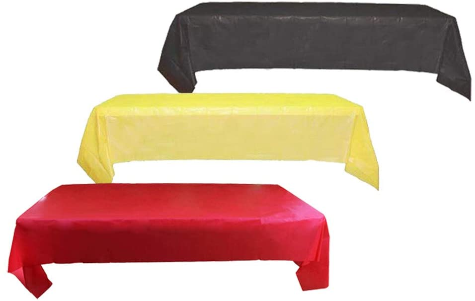 """GoodsBeauty 3-Pack Red Black Yellow Plastic Table Cover, Decorative Heavy Duty Rectangle Tablecloth for Party Events 54""""x72"""""""