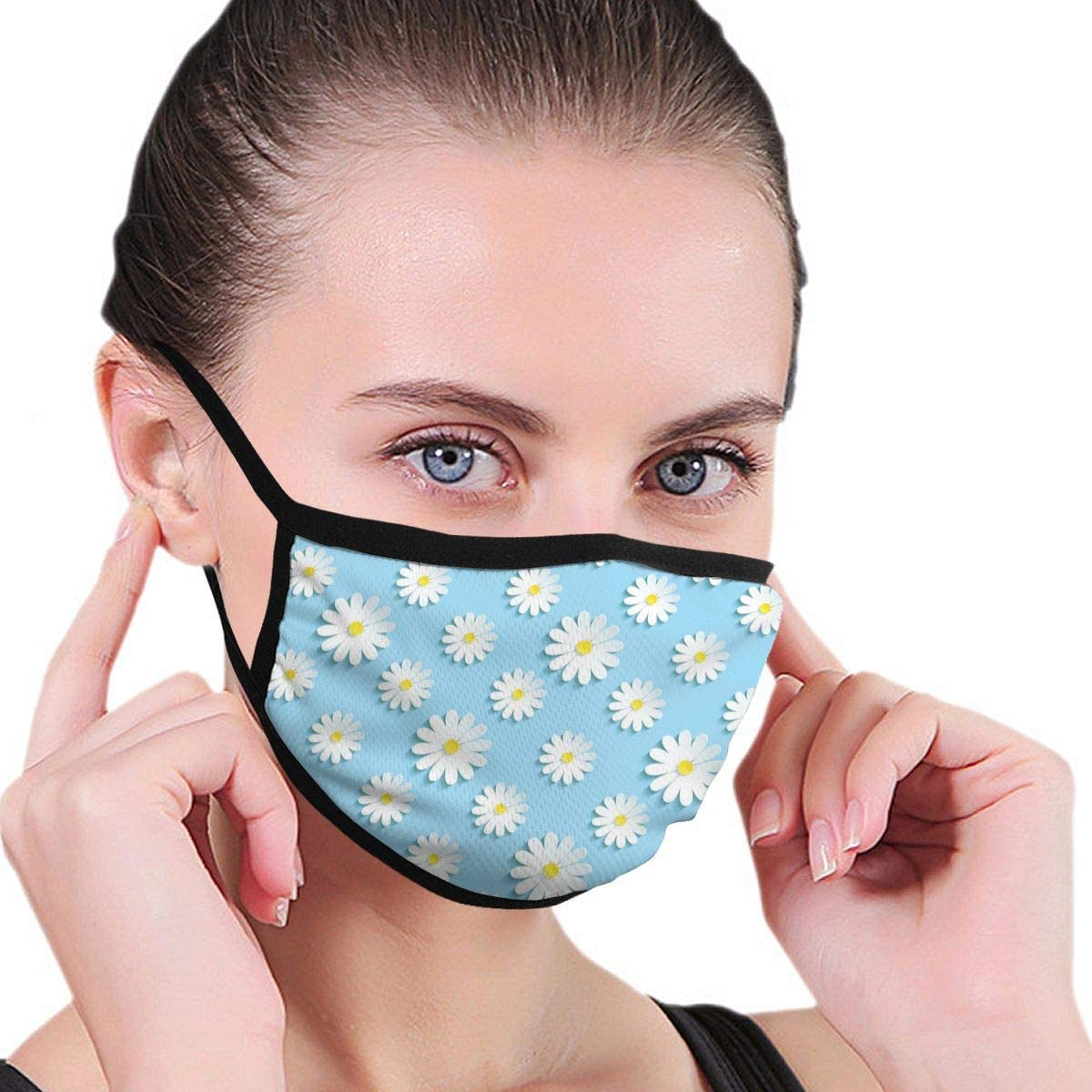 Anti Dust Breathable Face Mouth Mask Spring Blue Chamomile Washable Face Mask for Cycling Camping Travel