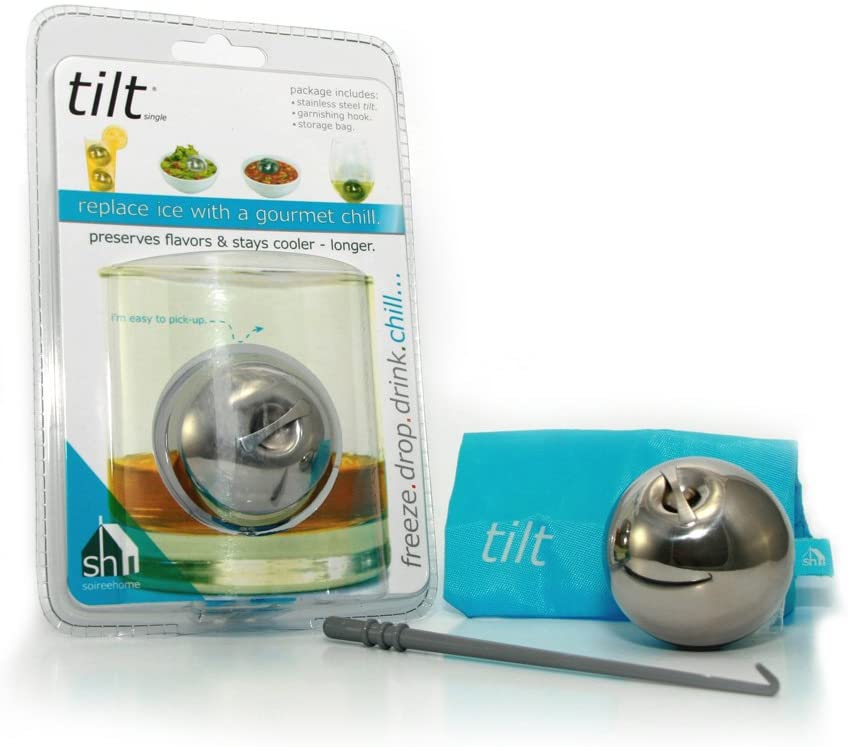 Soiree Tilt Single Beverage Chilling Sphere with Garnishing Stick and Stand