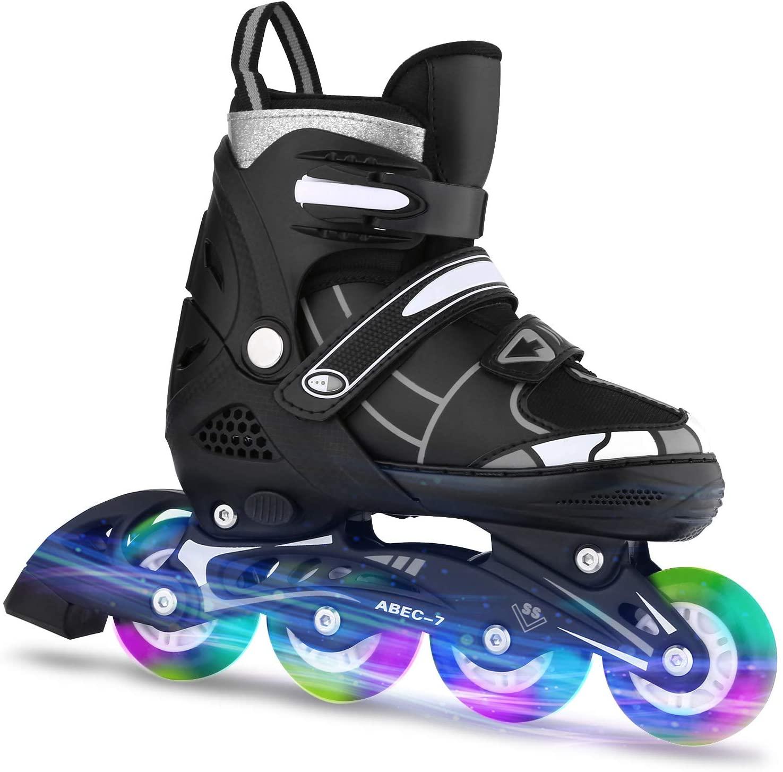 ANCHEER Inline Skates Adjustable Kids Inline Skates Teens Roller Skates for Girls Boys Size 12-8 Aggressive Urban Toddler Skating (White/Black, L: US 5-8(245-265mm))