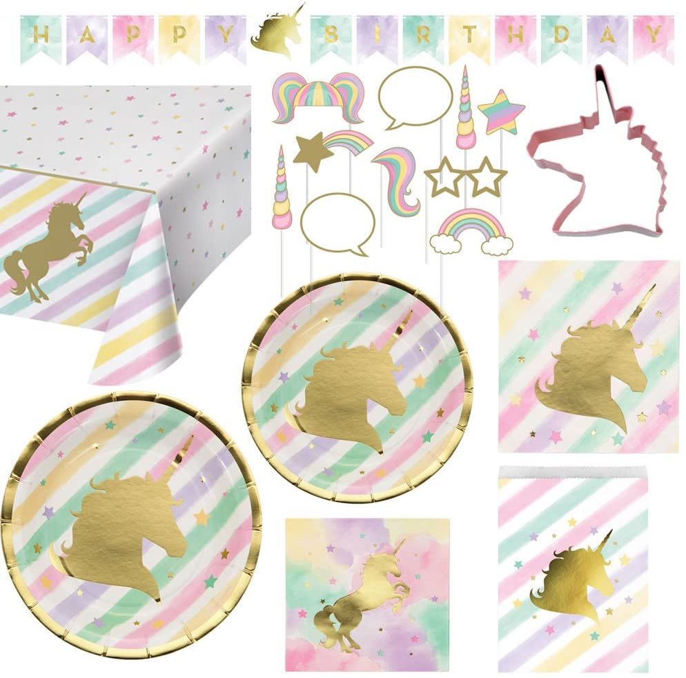 Creative Converting Unicorn Birthday Party Ultimate Bundle Serves 16 Guests: Happy Birthday Banner, Photo Props, Treat Bags, Plates & Napkins, Table Cover and Unicorn Cookie Cutter with Bonus Recipe