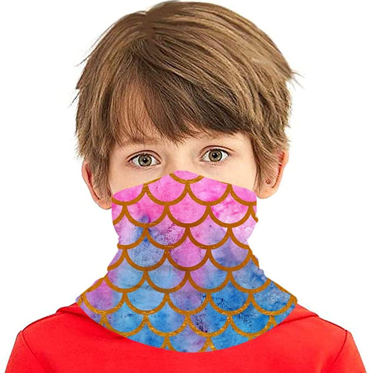 Mermaid Scale - Face Mask - Kids Sibling Bandanas Face Magical Multi Funtion UV Protectio Neck Gaiter Headband - Boys Girls Dust Block Balaclavas