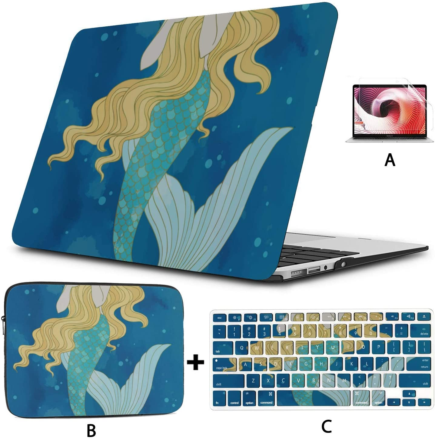 Mac Computer Cover Beautiful Cute Mystical Mermaid MacBook Air Skin Hard Shell Mac Air 11