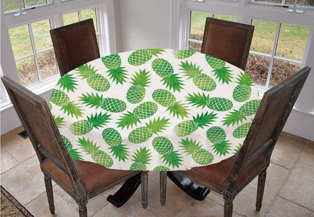 Angel Bags Fruits Round Tablecloth,Vintage Artistic Watermelon Watercolor Effects Vibrant Tropical Surreal Print Polyester Table Cover,60 Inch,for Spring/Summer/Party/Picnic Fern Green White