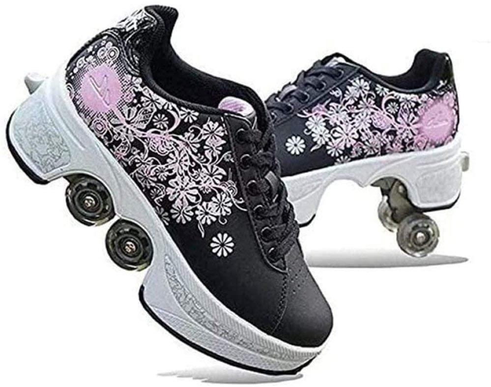 XIAZHOU Deformation Roller Shoes, 2-in-1 Multi-Purpose Four Adjustable Roller Skate Skating Boots Four, for Skating, Party, Adults and Children, A-38 (Color : G, Size : 39)