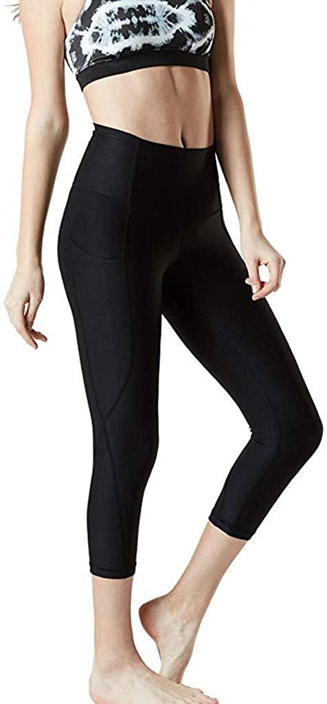 JOFOW Capri Leggings for Women Solid Basic Skinny Slim Fitness Sport Pants