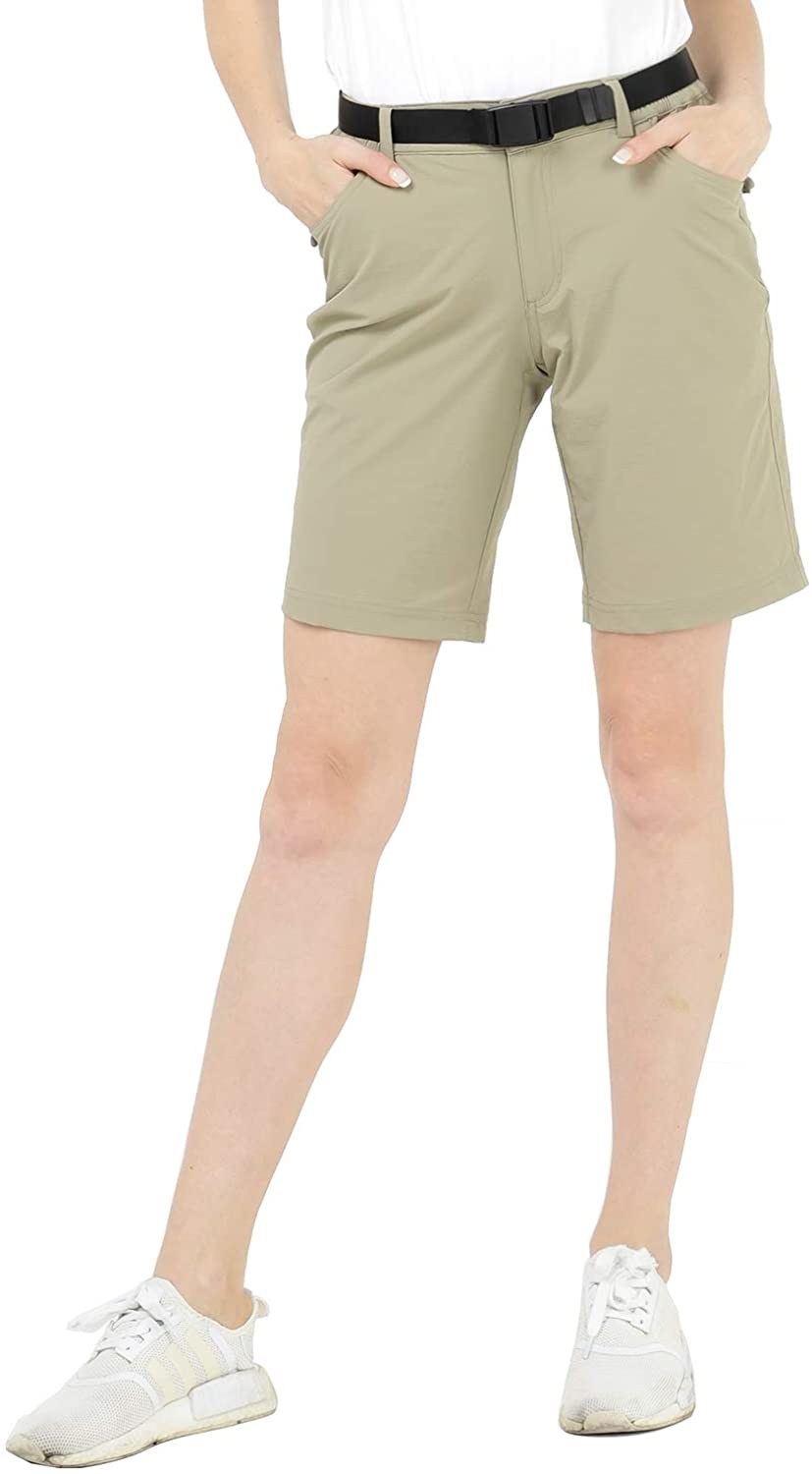 MIER Women's Quick Dry Outdoor Shorts Lightweight Stretch Nylon Hiking Shorts with 5 Pockets, Water Resistant