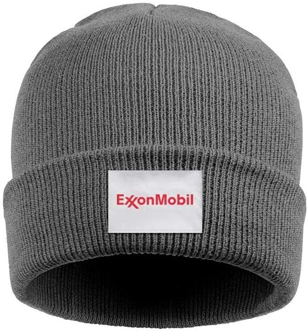 Cool Beard Ski Beanie Pompom Skull Cap Boy Thick Exxon Mobil Logo