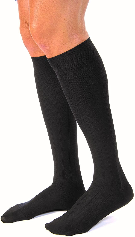 JOBST forMen Casual 20-30 mmHg Knee High Compression Socks, Black, Large