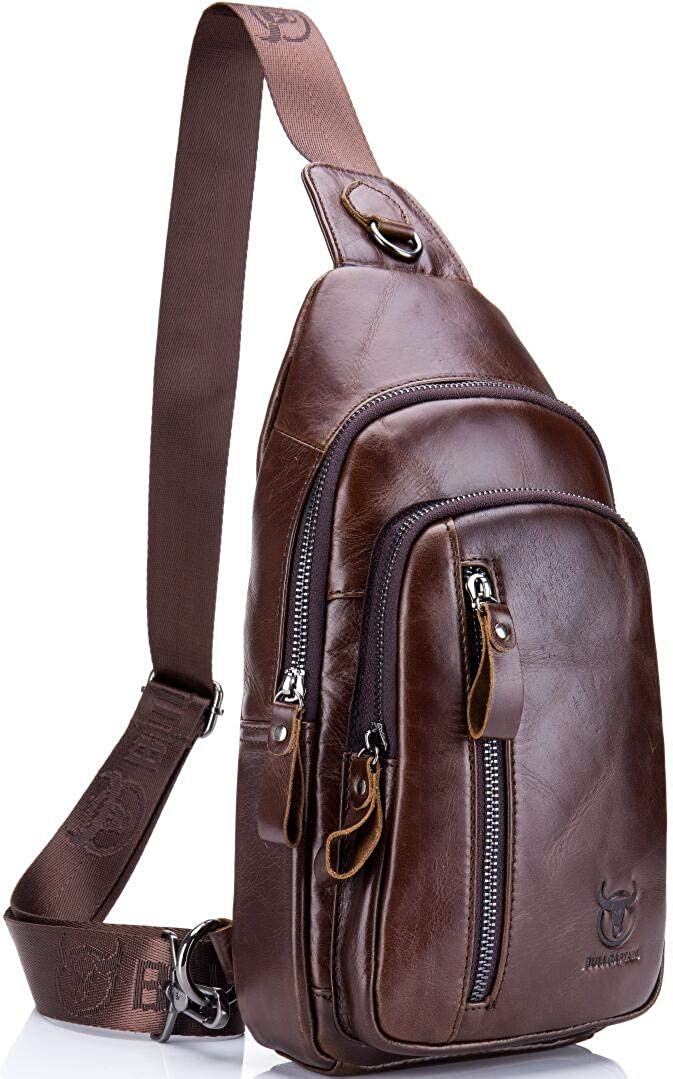 Joewilling Sling Bag Genuine Leather Chest Shoulder Backpack Outdoor Cross Body Bag Sports Bag J0045