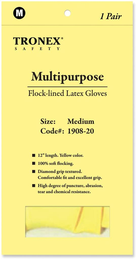 Tronex Multipurpose Flock-Lined Latex Gloves, Large (1 Pair)