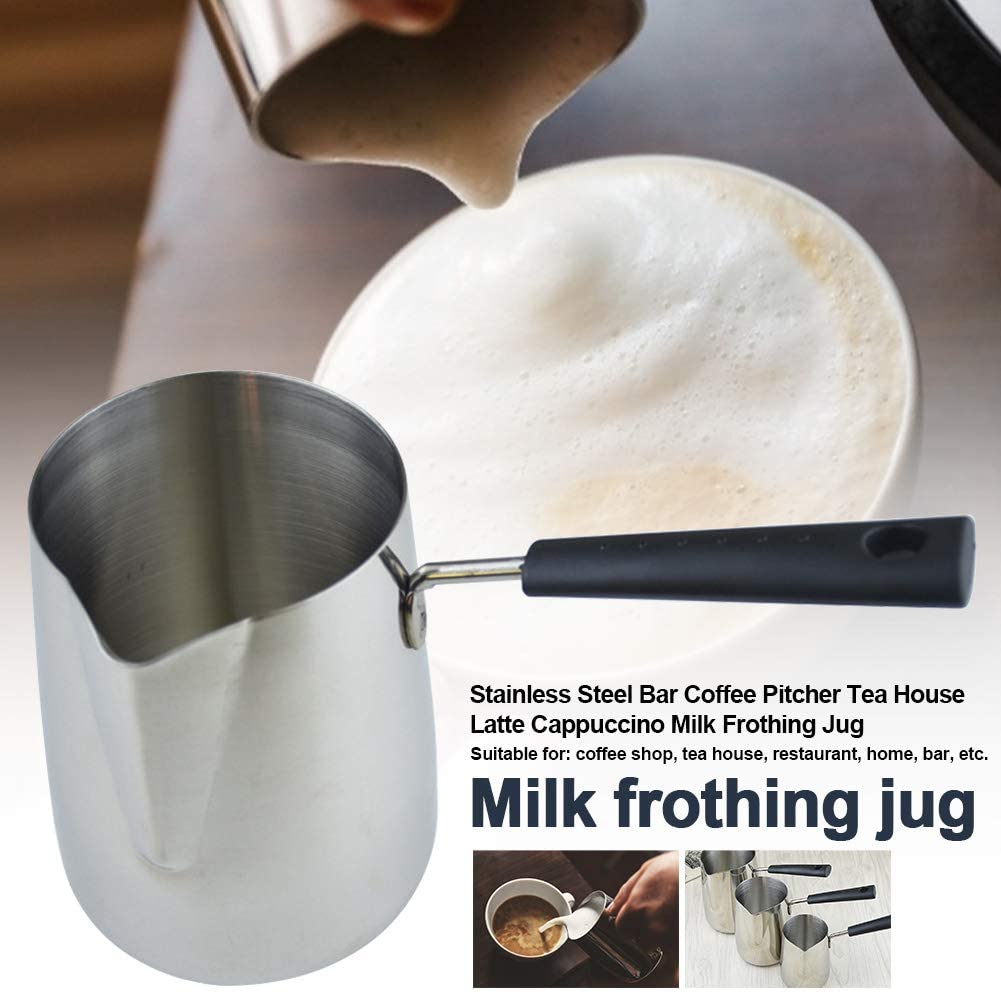 Milk Frothing Jug Flower Cup Restaurant Coffee Pitcher Bar Barista Tools Latte Cappuccino Durable Welding Stainless Steel Tea House Brushed Home Accessories