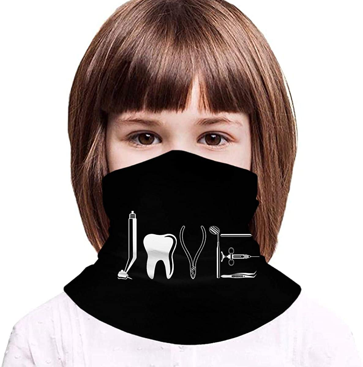Love by Dental Equipments Dentist Health Care (2) Boy Girl Seamless Face Cover Neck Gaiter Headband Teenagers Scarf Outdoors/Festivals/Sports - Gifts for Kids Black