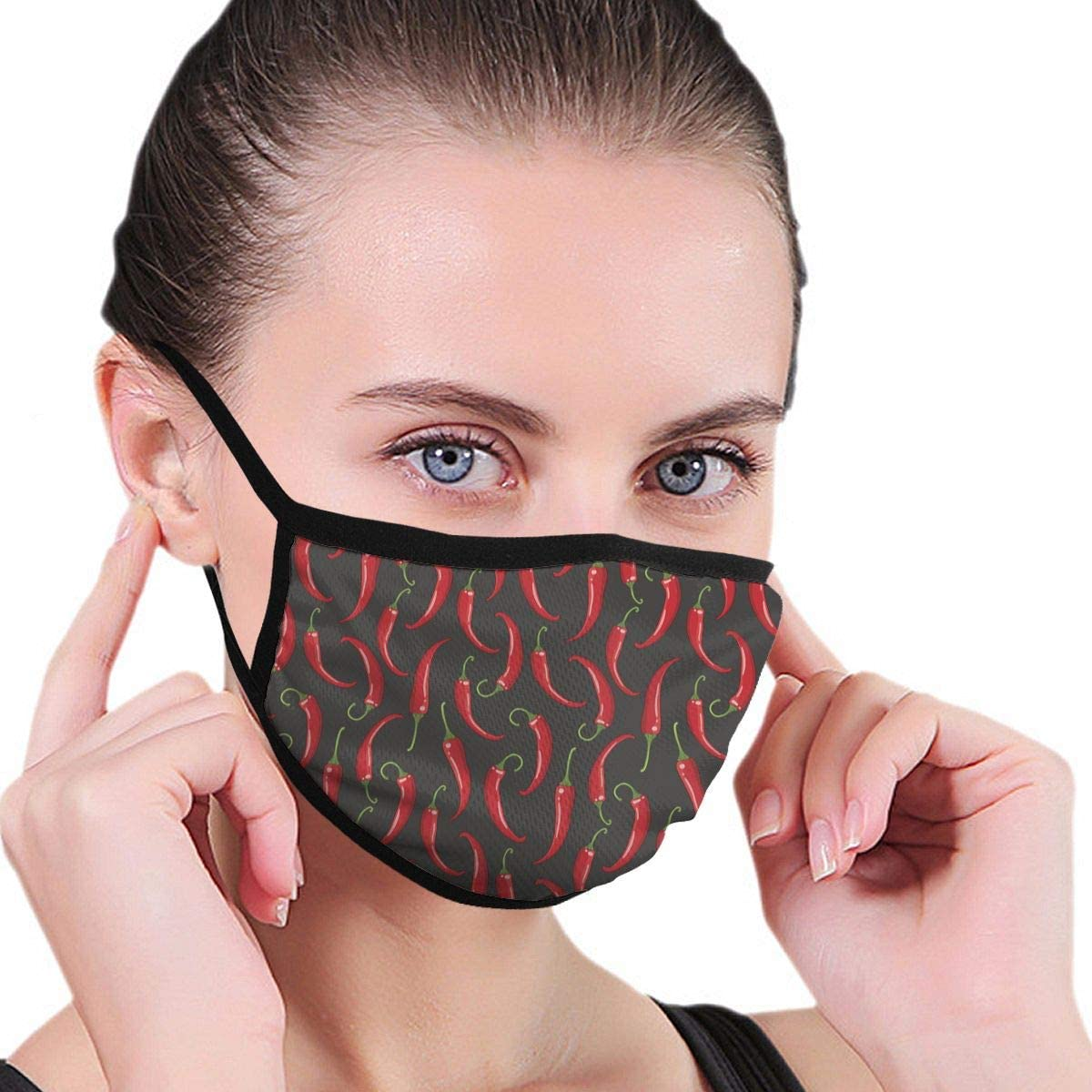 Anti Dust Breathable Face Mouth Mask Dark with Chilli Washable Face Mask for Cycling Camping Travel