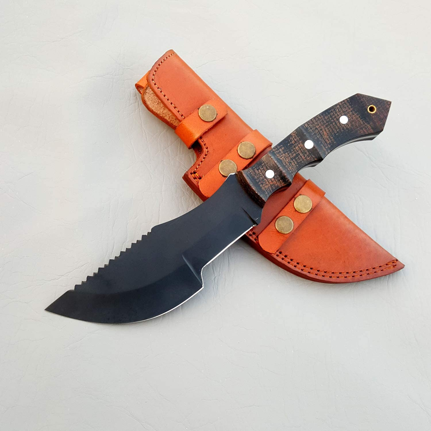 JNR Traders Handmade Carbon Steel Tracker Tactical Knife Powder Coated Swiss Saw Spine 13 Inches VK0047