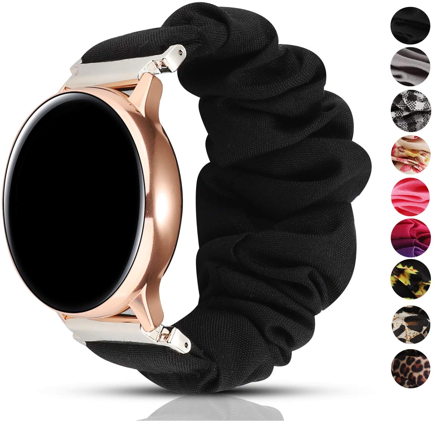 PENKEY 20mm Scrunchie Watch Band Compatible with Samsung Galaxy Watch 42mm,Soft Classic Pattern Replacement Wristbands for Samsung Galaxy Watch Active/Active 2