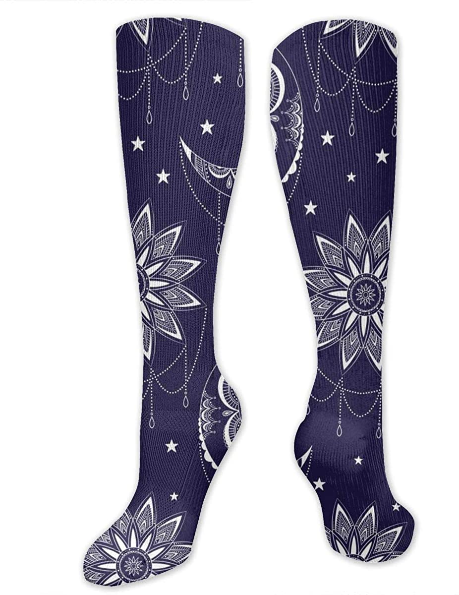 Bohemian Moon Sun And Stars Athletic Socks Thigh Stockings Over Knee Leg High Socks