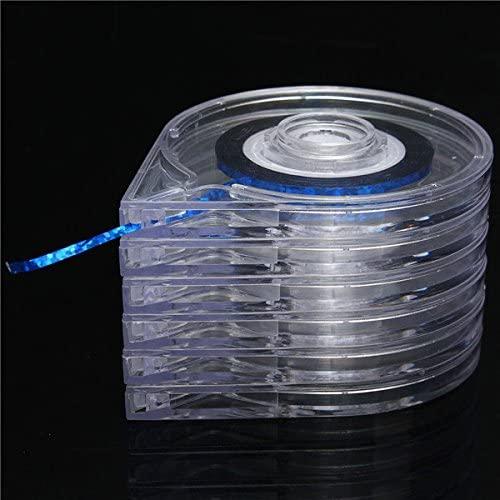 6Pcs Clear Nail Art Striping Tape Line Case Tool Sticker Box Holder