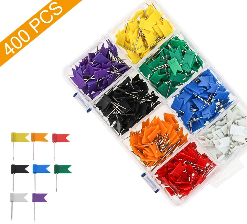 Colored Flag Travel Map Push Pins, Coideal 400 Pack Multicolored Decorative Map Tacks Plastic Head with Steel Point for Cork Bulletin Board, Picture Hanging at Home Office School (8 Assorted Colors)