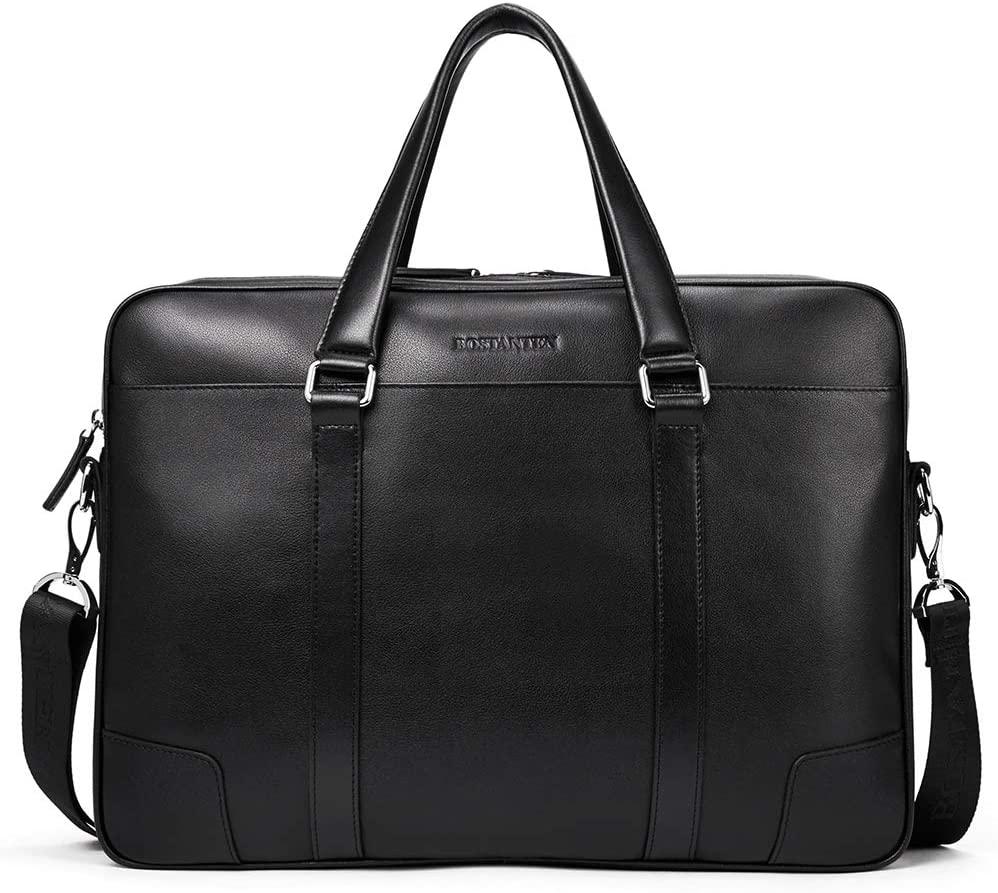 BOSTANTEN Leather Briefcase Messenger Business Bags 15.6 inch Laptop Handbag for Men Black