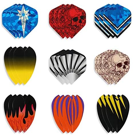 asdz 54 Pcs Mixed Pattern Standard Dart Flights Indoor Dartboard Games Darts Flight Wing Tail Dart Accessories Copperize Barrel