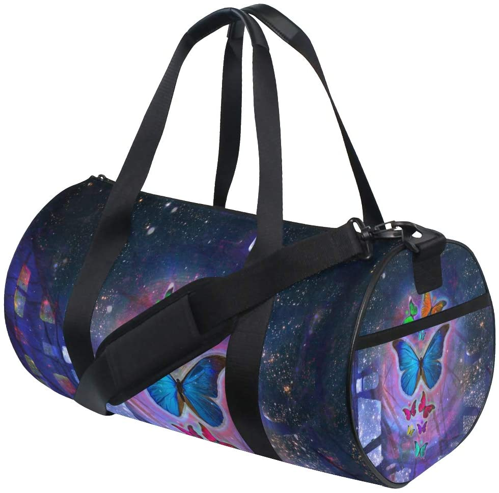 Brighter Abstract Watercolor Butterfly Fitness Sports Bags Gym Bag Travel Duffel Bag for Mens and Womens