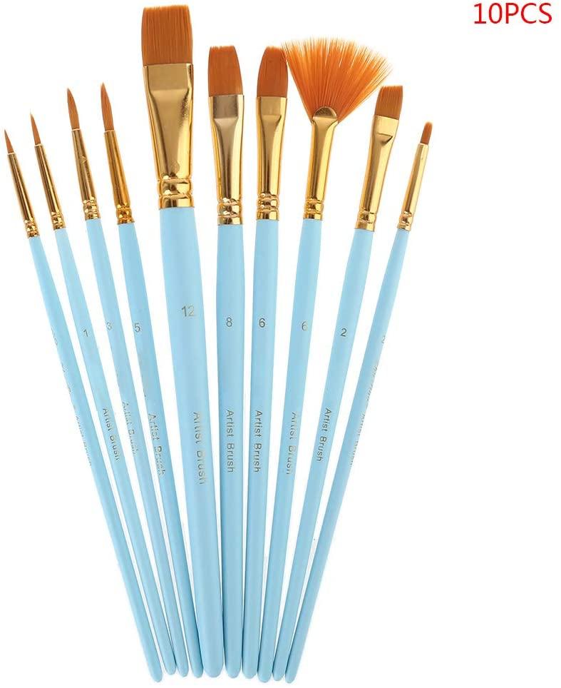 QINYUAN 10Pcs Paint Brushes Set Nylon Hair Painting Brush Oil Acrylic Watercolor Pen Professional Art Supplies