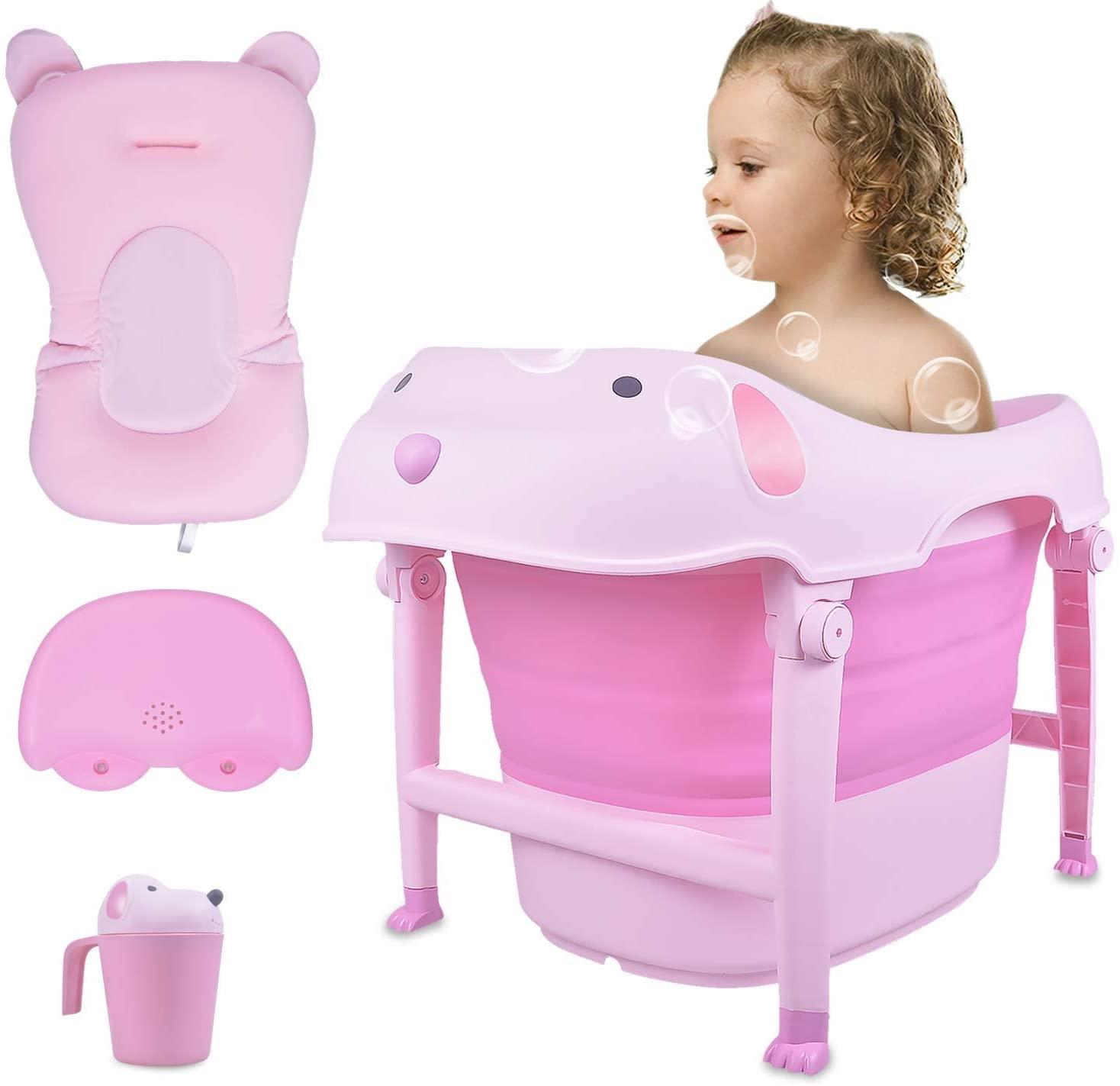 CHENNAO Baby Folding Bathtub, Infant Collapsible Portable Shower Basin