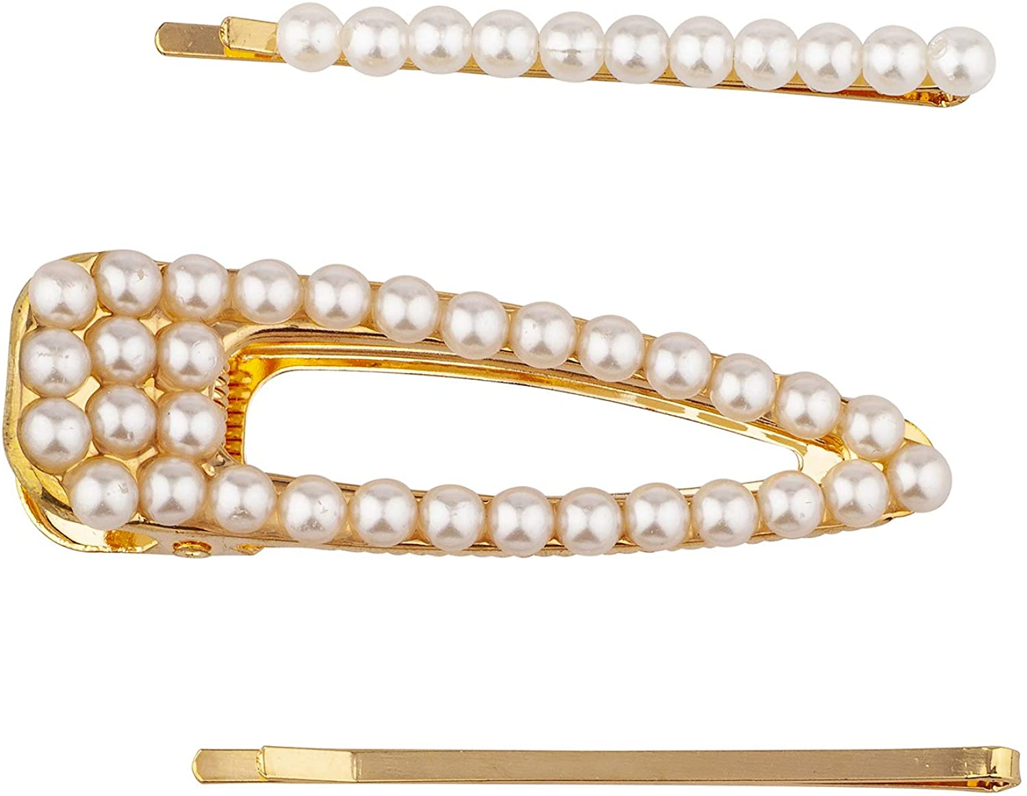 Lux Accessories Set (3pc) Gold Tone Bridal Wedding Prom Hair Pin White Pearls