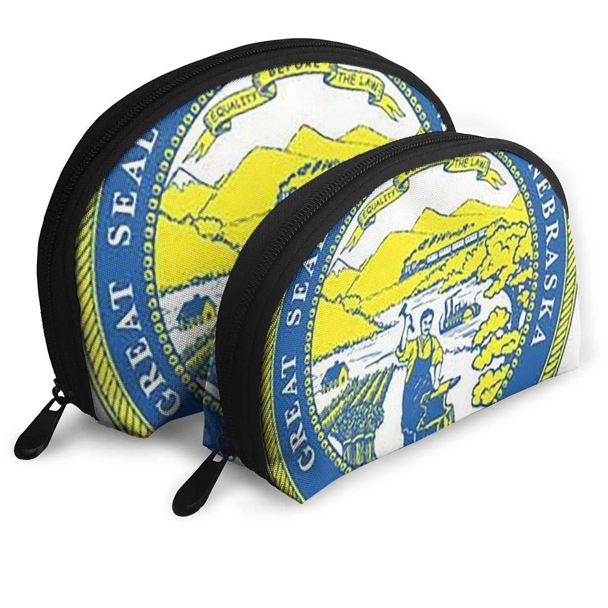 Half Moon Cosmetic Beauty Bag,Nebraska Handy Cosmetic Pouch Clutch Makeup Bag For Women Girls
