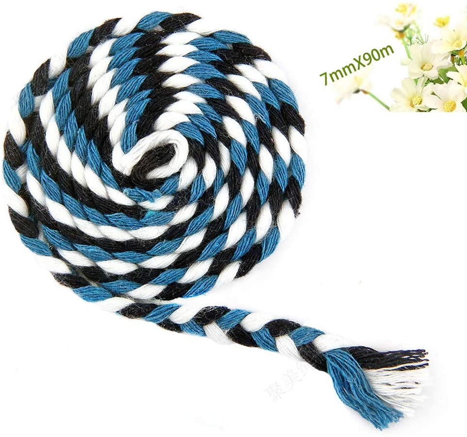 YZPFSD Macrame Cord 7Mmx90m, Twine String Cord Twisted Cotton Cord Colored Cotton Rope Craft Cord for Wall Hanging, Plant,Blue